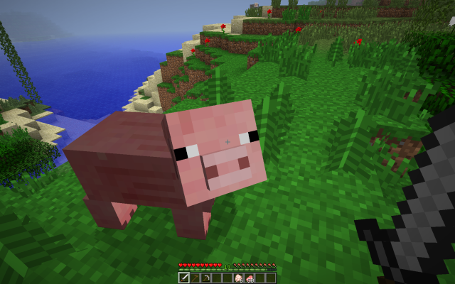 Pig already struck once trying to escape fate by hiding behind its big sad eyes.
